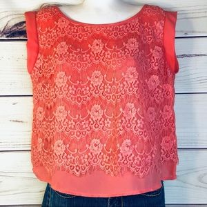 Anthro Paper Crane Coral Lace Cropped Blouse Top